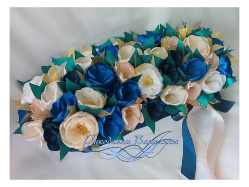 цветы из атласных лент, интерьерная композиция, ручная работа, рукоделки василисы,