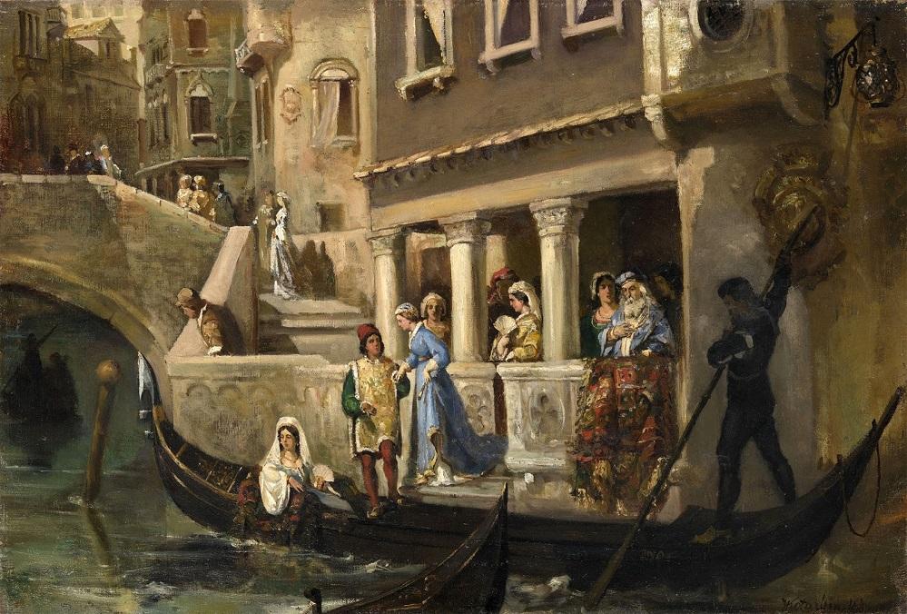 POSADKA-POCETNYK-VENETIANTEV-V-GONDOLU-Dignitaries-Boarding-a-Gondola-on-a-Venetian-Backwater_50.5-K-74_K.M._CASTNOE-SOBRANIE.jpg